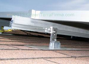 solar racking with flashing and end clamp